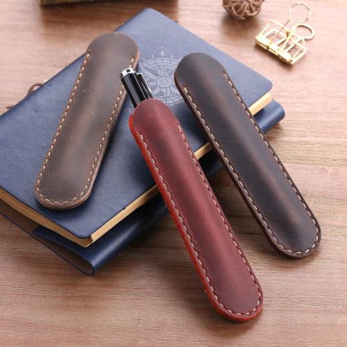 Leather Pouch Single Pen Carrier