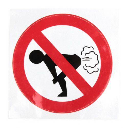 Funny Car Stickers No Farting Sign