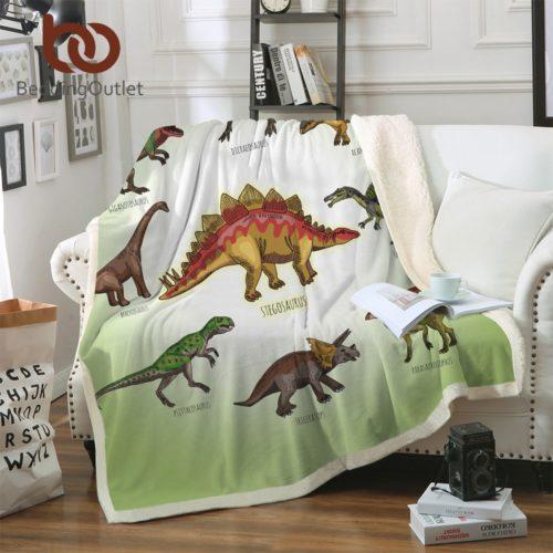 Dinosaur Blanket Sherpa Fleece Material