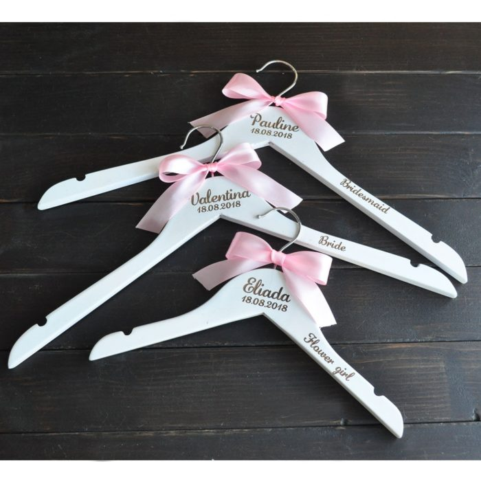 Bride Hanger with Pink Ribbon