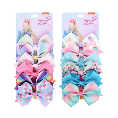 Hair Bows For Girls Colorful Ribbon (6 pieces)