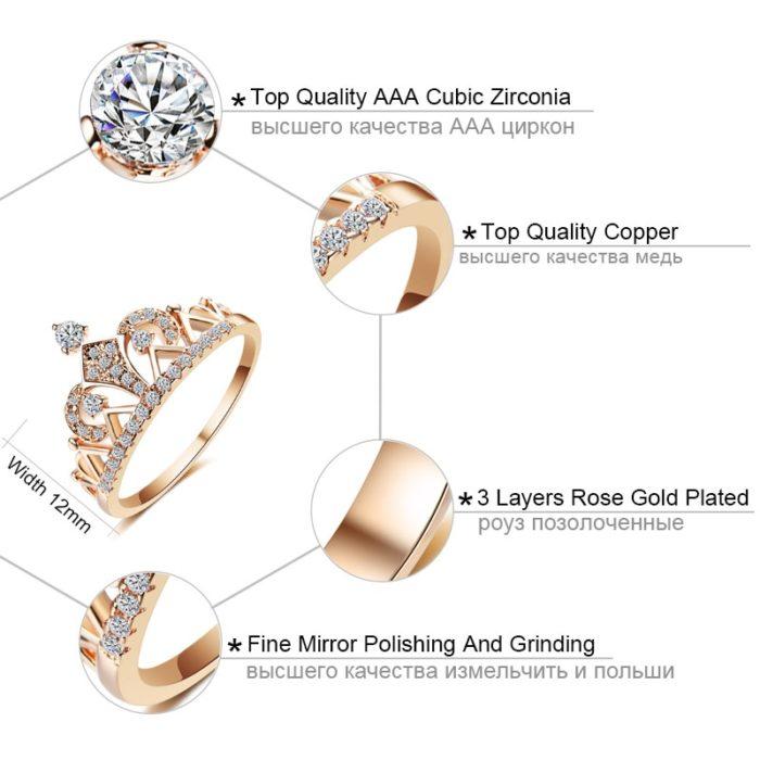 Princess Crown Ring Cubic Zirconia