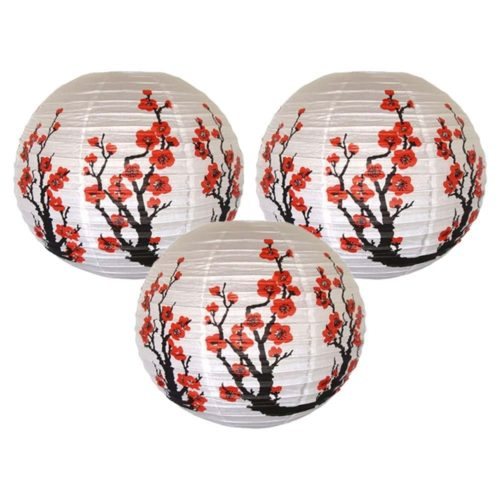 Decorative Lanterns Red Sakura Design
