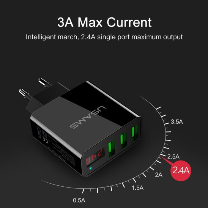Smart Charger 3 Port USB LED Display