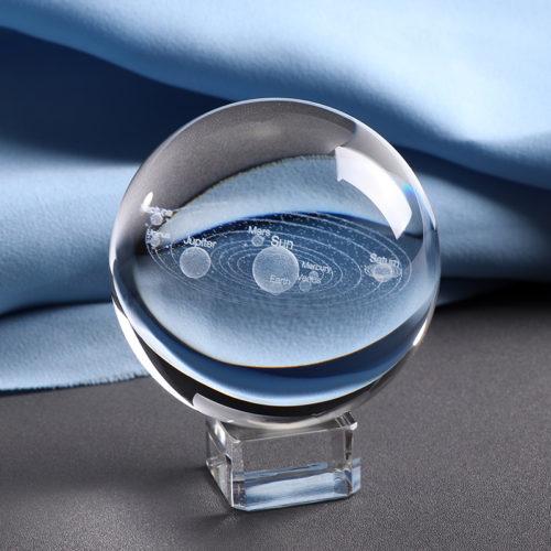 3D Solar System Model Sphere Glass Decor