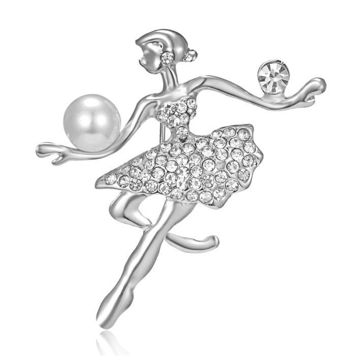 Womens Brooch Pin Gymnast Girl Design