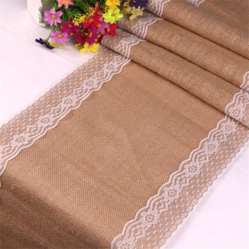 Table Runner Lace Jute Linen
