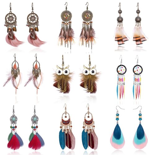 Bohemian Earrings Long Feather Dangling