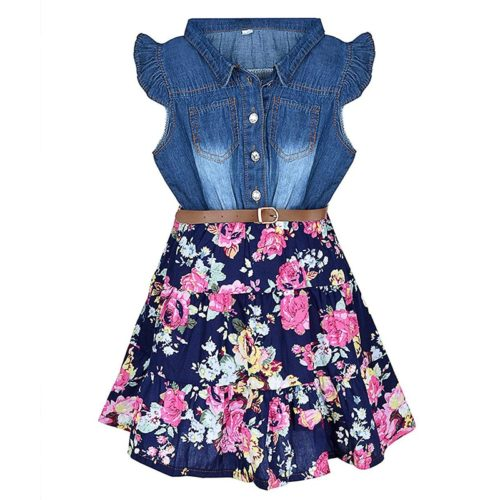 Fancy Dress For Girls Floral Denim