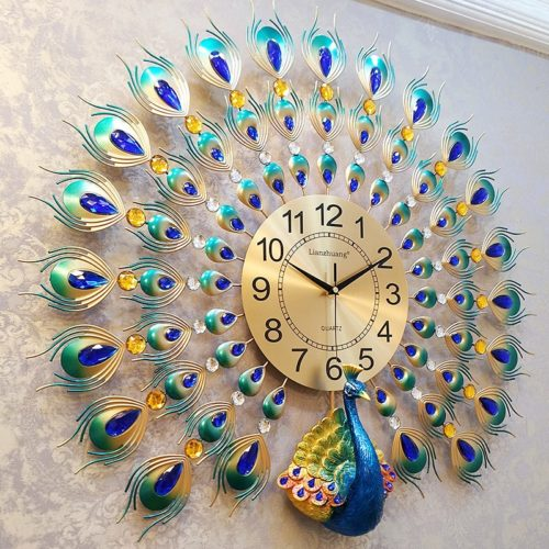 Modern Wall Clock Peacock Design