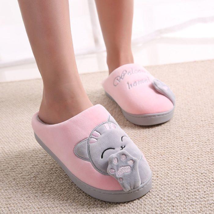 House Slippers Cute Cat Design