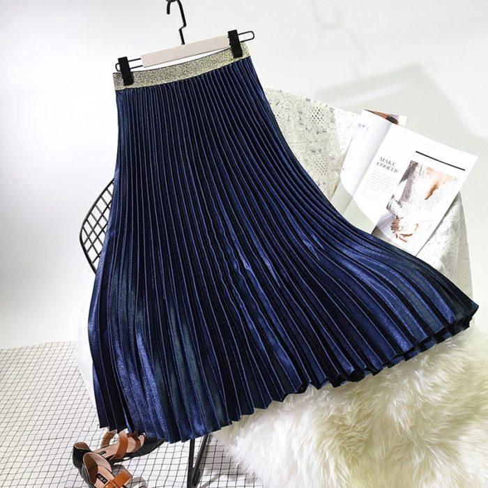 Pleated Midi Skirt High Waist Skirt