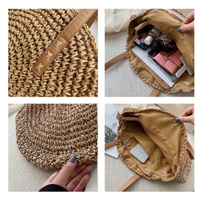 Round Rattan Bag Women's Handbag