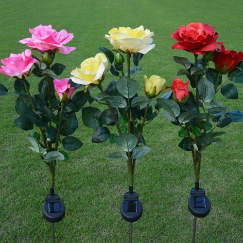 Solar Powered Garden Lights Rose Flowers