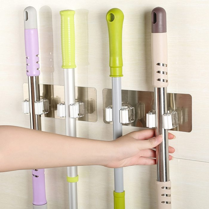 Mop and Broom Holder Wall-Mount Rack