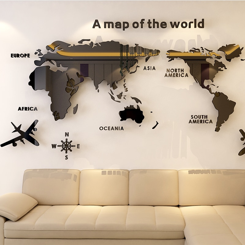 Room Decor World Map Stickers Life