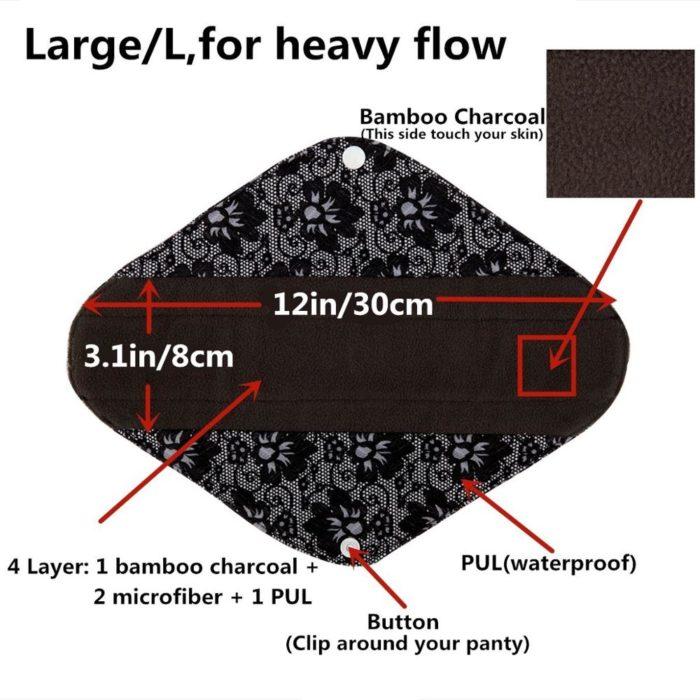 Cloth Menstrual Pad Bamboo Charcoal Liner