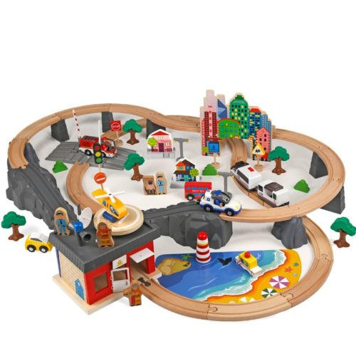 Wooden Train Set 92PC Toy Kit