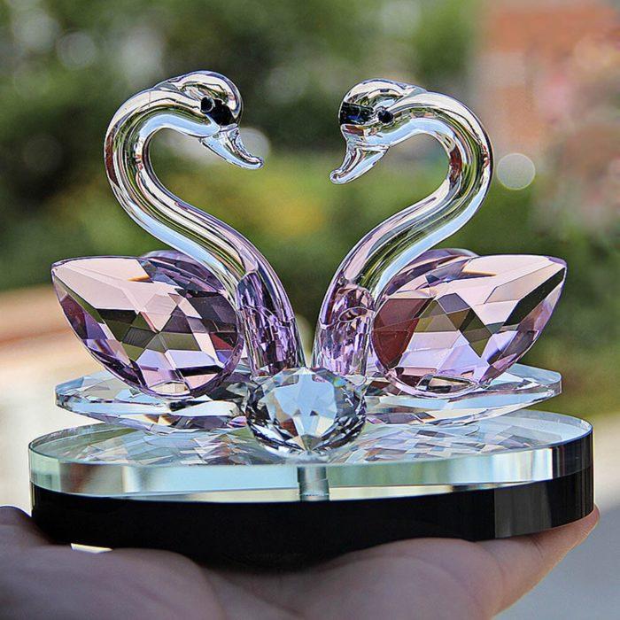 Crystal Figurine Swan Decoration
