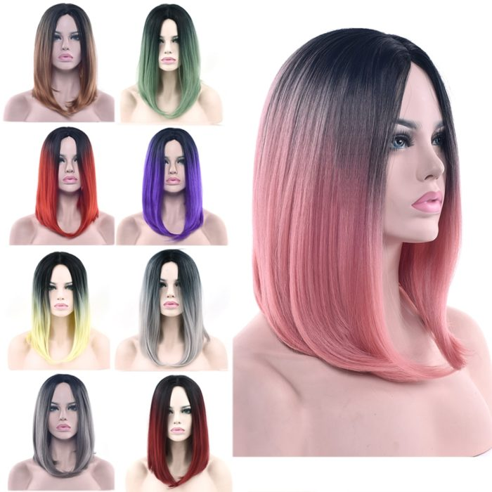 Ombre Wig Straight Hairstyle