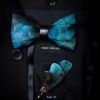 Feather Bow Tie Brooch Pin Set