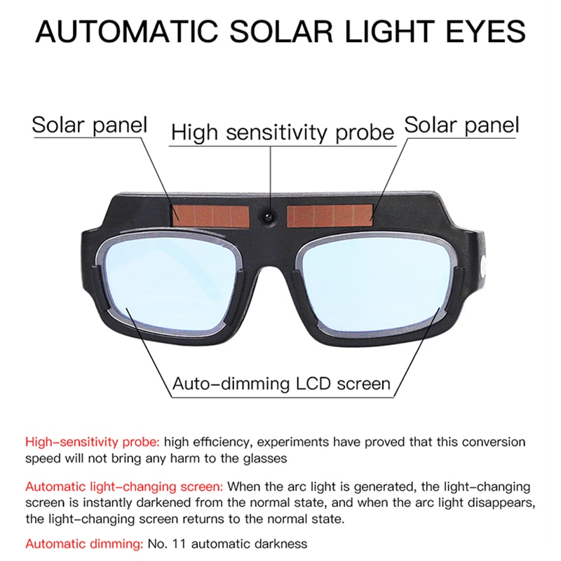 Auto-darken Solar Welding Safe Glasses Protective Eye Goggles UV Protective
