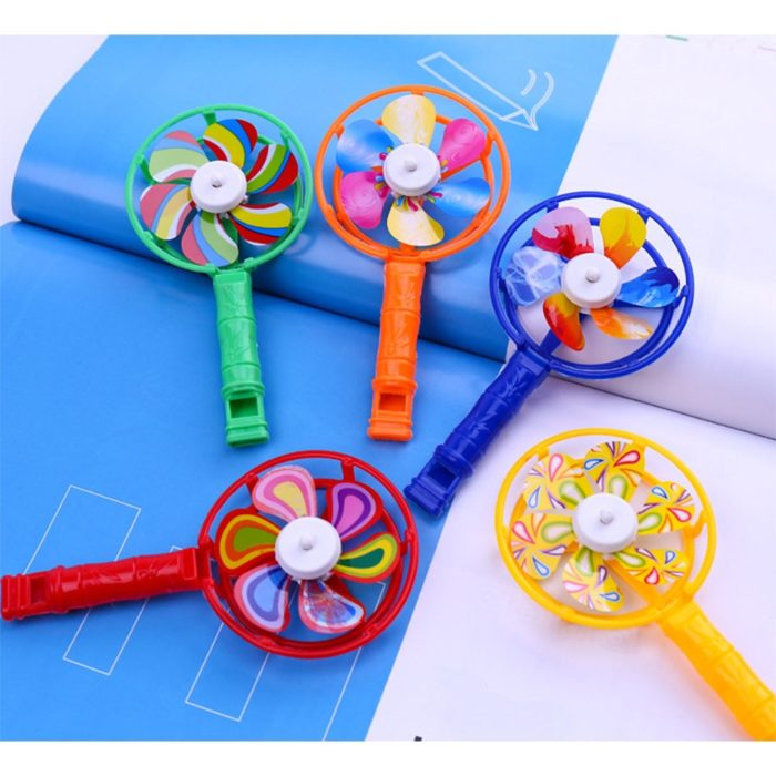 Wind Spinners Colorful Whistling Handle Toys