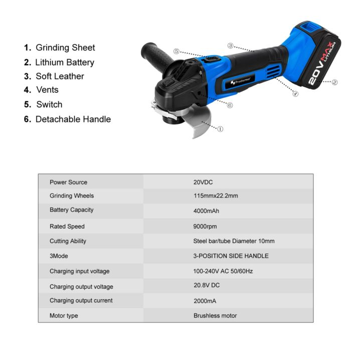 Cordless Angle Grinder Power Tool