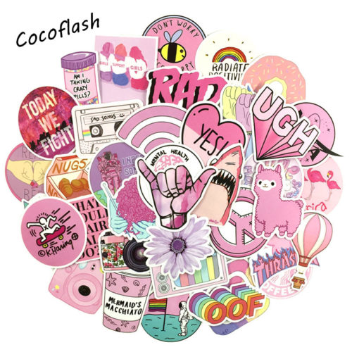 Pink Stickers Girly Cartoon Style