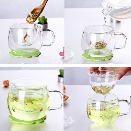 Tea Infuser Mug Set Clear Glass