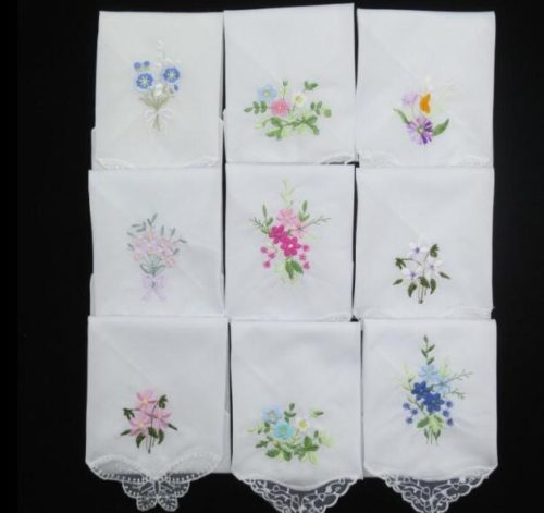 Ladies Handkerchiefs Embroidered Flower (3Pcs)