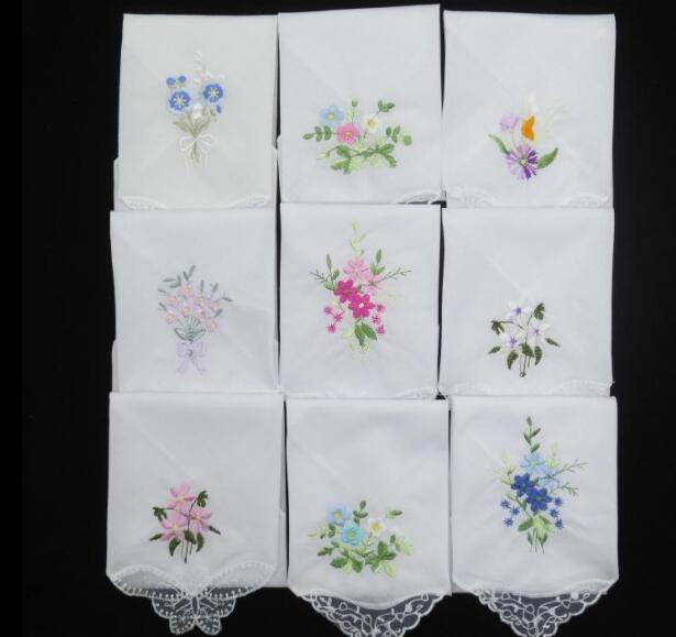Ladies Handkerchiefs Embroidered Flower (3Pcs)