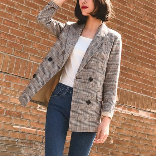 Girls Blazer Vintage Plaid Retro Suit