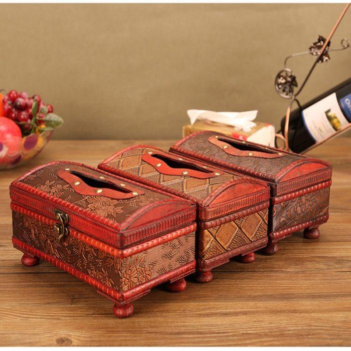 Tissue Paper Holder Antique Wooden Box