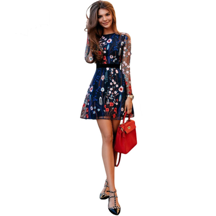 Floral Embroidered Dress Sexy Clothing Wear