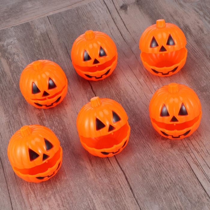 Plastic Pumpkins Mini Container (6 pieces)