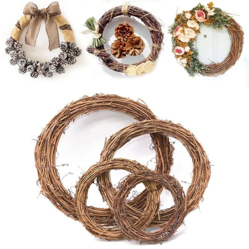 DIY Christmas Wreath Rattan Rustic
