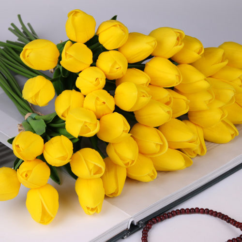 Plastic Flowers Artificial Tulip Decor