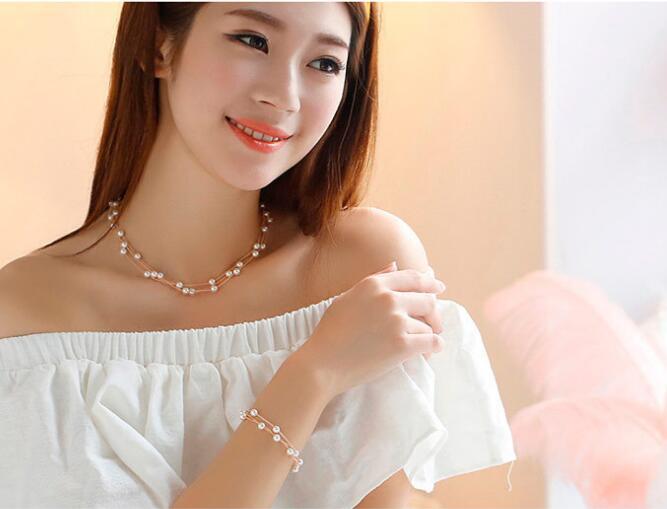 Pearl Necklace Set Bracelet Earrings