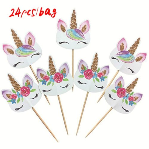 Unicorn Cupcake Toppers Party Decor 24pcs/set