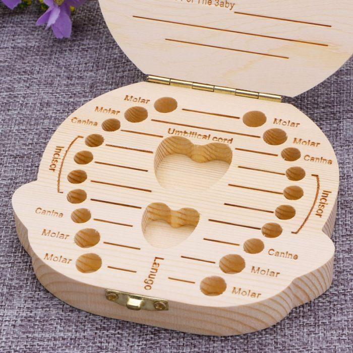 Baby Tooth Box Wooden Souvenir