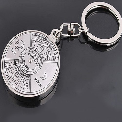 Calendar Keychain 50 Years Date Ring