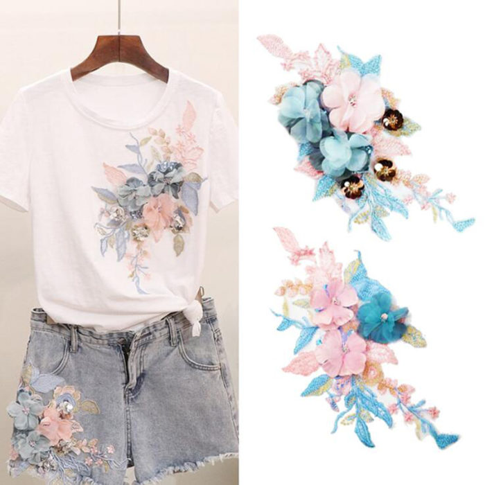 Flower Applique Colorful 3D Embroidered