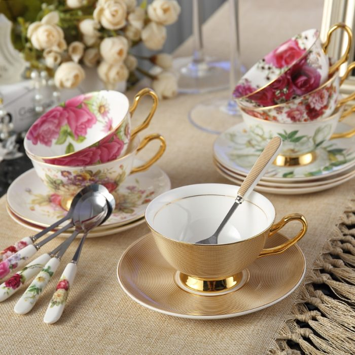 Bone China Cup Saucer Spoon Set