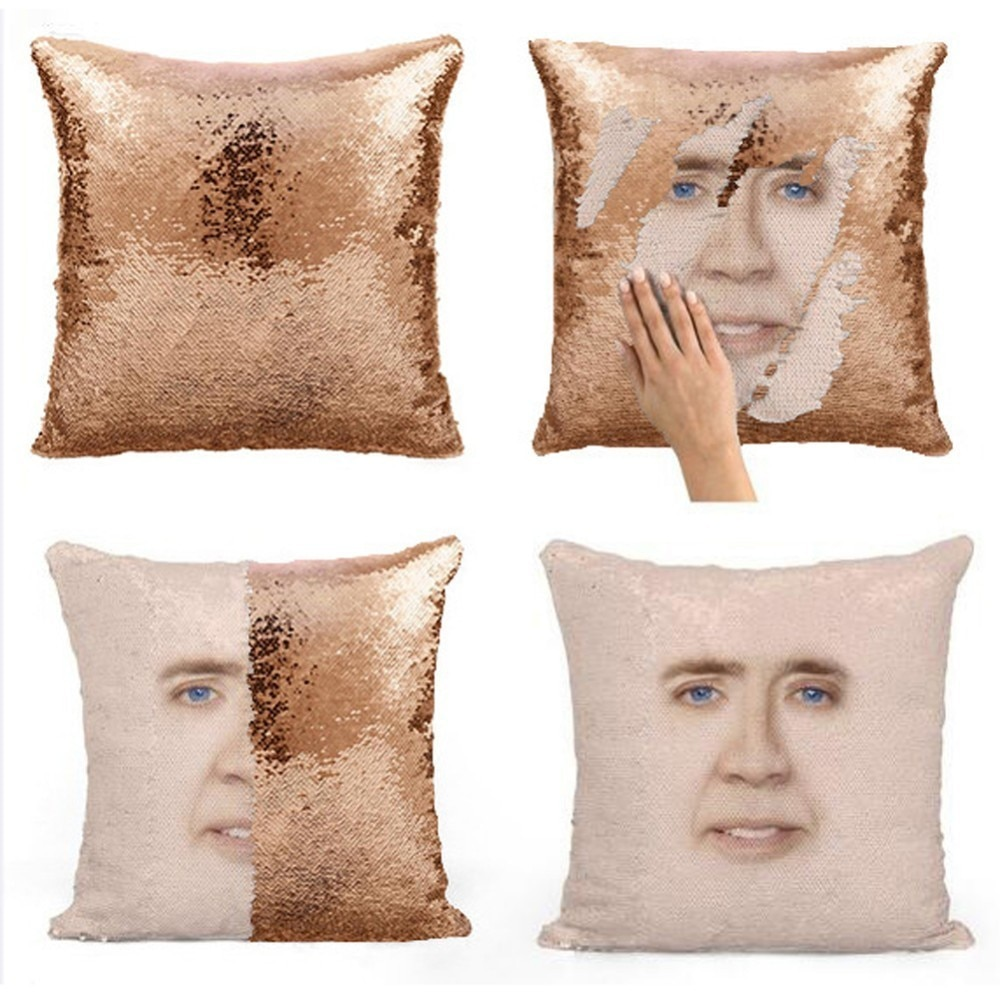 Nic Cage Sequin Face Pillow Case