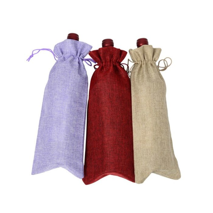 Wine Bottle Bag Drawstring Pouch