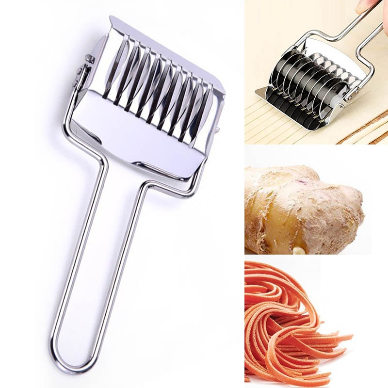Maker Home Handheld Stainless Noodle Spaghetti Dough Cutter Rotary Press Tool XS