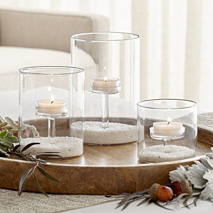 Glass Tea Light Holder 3pc Set