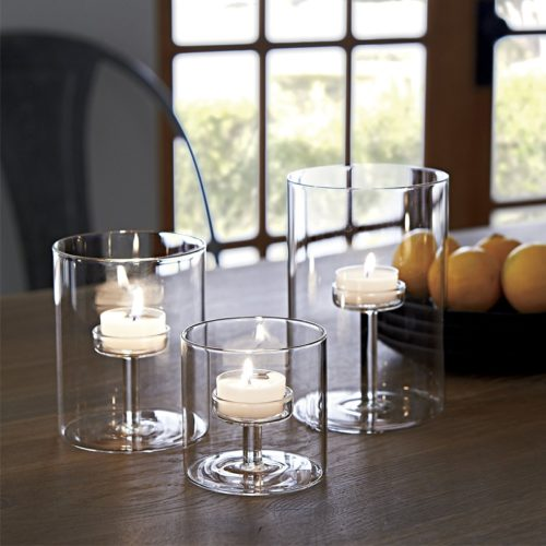 Glass Tea Light Holder 3pc Set