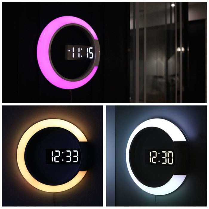 LED Wall Clock Digital Night Light